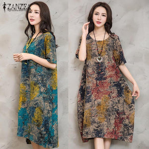 ZANZEA Women Vintage Floral Print Dress Casual Loose Pockets Short Sleeve O Neck Dresses Robe
