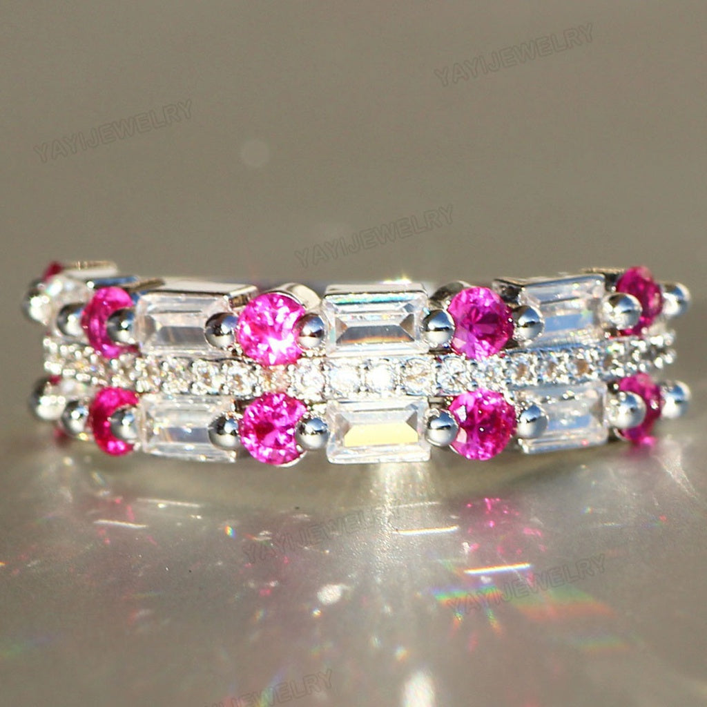 925 Silver Gemstones Ring Synthetic White Sapphire Wedding