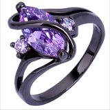 Women's Fashion Jewelry Black Gold Amethyst Cubic Zirconia Ring Size 5-12