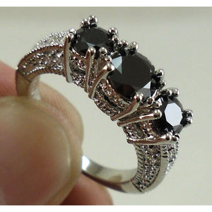 New Brand Jewelry Sterling Silver Synthetic Black Sapphire Wedding Engagement Ring