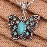 Retro Beautiful Turquoise Butterfly Hollow Crystal Inlay Pendant Tibetan Silver Necklace YHS