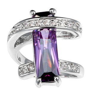 Fashion Women silver Synthetic Amethyst&white gemstones CZ Natural topaz Ring size6 7 8 9 10