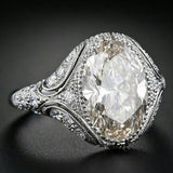 Vintage Style Jewelry Oval White  Imitation White Sapphire Silver Women Engagement Wedding Ring Size 6 7 8 9 10