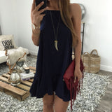 Plus Size Europe Casual Sleeveless Dresses Sexy Halter Dress Solid Color  Pleated Chiffon Mini Dresses