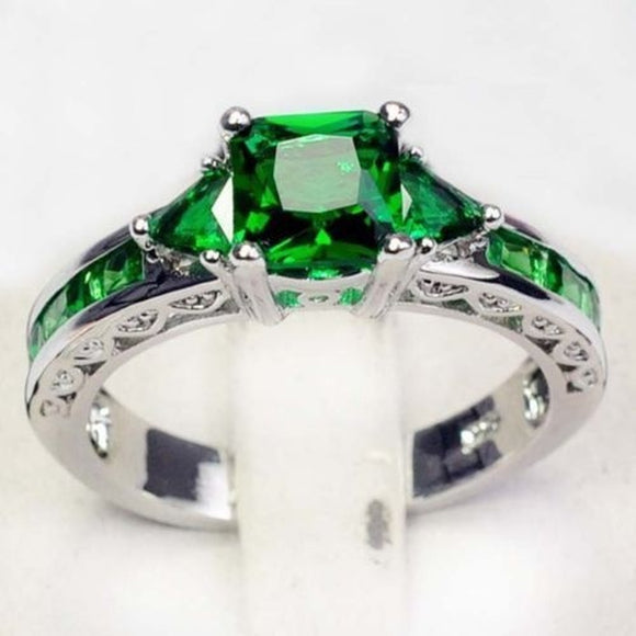 Emerald Topaz Gemstone Jewelry Fashion Silver Wedding/ Party Rings Sz 6/7/8/9/10