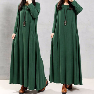 Boho Vintage Womens Long Sleeve Long Tunic Skirts Solid Color Loose kaftan Maxi Dress Robes 7 Colors - The Rogue's Clothes
