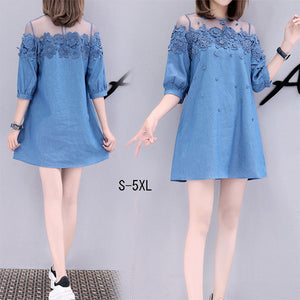 New fashion plus size loose cotton embroidery sexy jeans dress for women ladies
