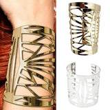 New Gold Tone Golden Metal Alloy Hollow Out Wide Bangle Cuff Bracelet Adjustable