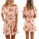 Women Fashion Spring Summer New Arrival Mini Dress Casual Sexy Off The Shoulder Floral Print Plus Size Dress Female Laides High