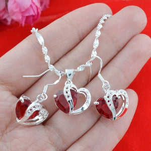 "Women's silver Suit combination RED Dangle Earrings+Necklaces Pendants   Fashion Jewerly 24"" (Size: 24 \"", Color:"