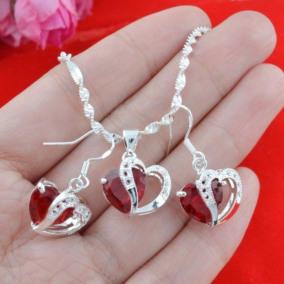 Women's silver Suit combination RED Dangle Earrings+Necklaces Pendants   Fashion Jewerly 24\