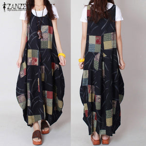 ZANZEA Vintage Women Loose Cotton Dress Casual O Neck Print Dresses Robe