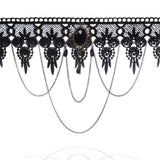 Hot Fashion Lace Necklace Europe Luxury Black Gemstone Jewelry Trade Steampunk Style Gothic Collar Necklace