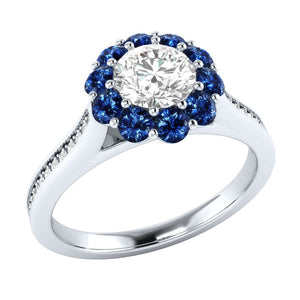 925 Synthetic Sterling Silver Blue & White Sapphire wedding Ring - The Rogue's Clothes