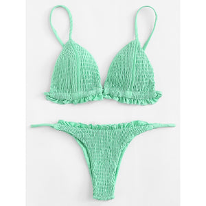 Shirred Frill Bikini Set
