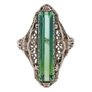 Vintage Style Women Jewelry Silver Synthetic Emerald Gemstone Wedding Engagement Ring