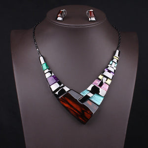 New Arrive Big Fashion Necklace Earring Set Choker Colorful Necklace Brand Punk Jewelry Set Statement Women Necklace