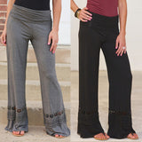 New Women's Fashion Casual Loose Pants Mid-waisted Lace Spliced Flared Wide Leg Long Trousers