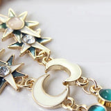 Lady Women's Fashion Accessories Sun Moon Crystal Pendant Long Chain Dress Sweater Necklace Retro Bohemian Jewelry popular goods
