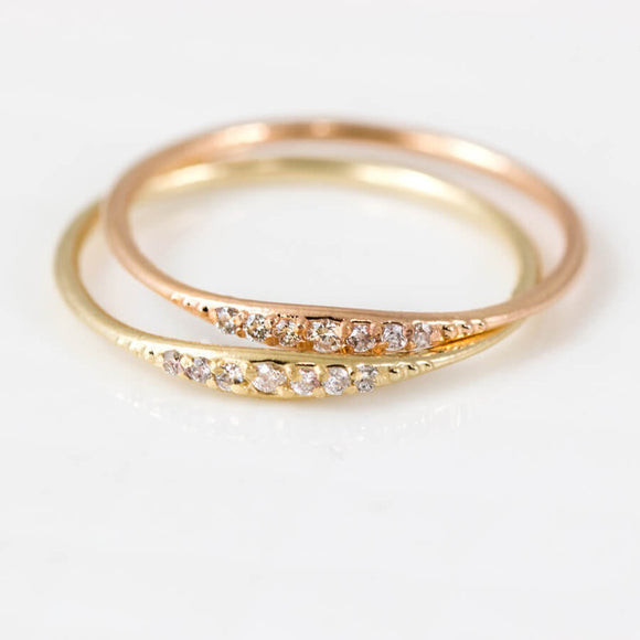 Women's Fashion 14k Tiny Baguette Diamond Ring, Gold Ring, White Gold, Yellow Gold, Stacking Ring, Recangle Diamond, 7 Zir