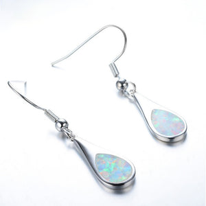 925 Silver White Opal Double Drop Shaped Charm Earrings - The Rogue's Clothes