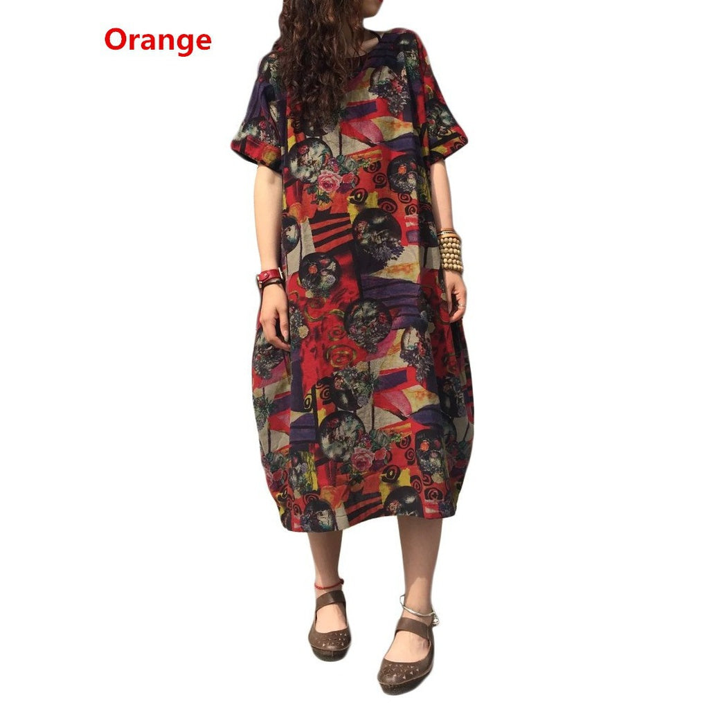 3fb1f2bf8eae ... Oversized Women Short Sleeve Batwing Vintage Floral Print Baggy Loose  Maxi Dress ...
