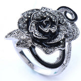 US/UK trendy Women Retro Rose Flower Ring Black Crystal Vantige Big Flower Rings Jewelry Gift
