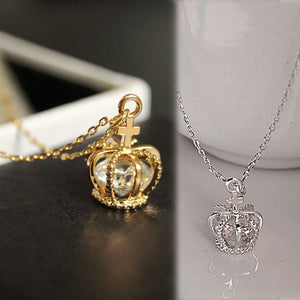 Elegant Gold/Silver Plated Crown Zircon Clavicle Chain Pendant Necklace Jewelry