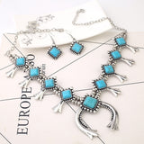Women's Fashion Bohemian Style Wedding Party Jewelry Turquoise Alloy Pendant Necklace Earrings Jewelry Set