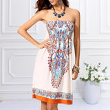 Sexy Summer Women Floral Bandeau Beach Boho Maxi Sundress Top Selling For QIM