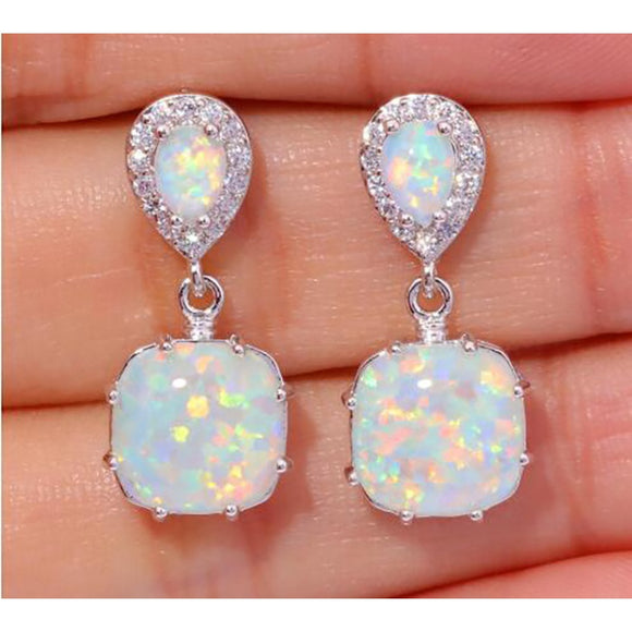 Fashion Women White Fire Opal Cubic Zirconia Silver Plated Earrings Wedding Engagement Cocktail Party Gift
