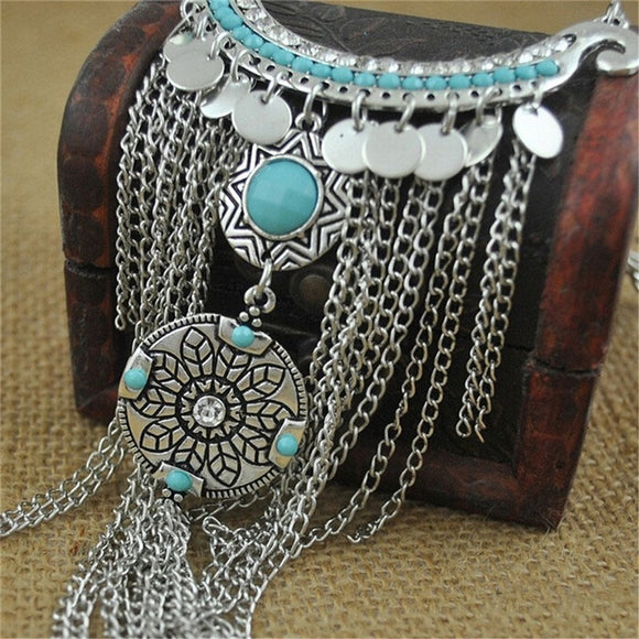 Fashion Retro Bohemian Gypsy Style Turquoise Tassel Chain Choker Pendant Necklace CW