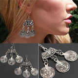 2/5/10 Pairs Bohemian Style Silver Coin Hippie Boho Tibetan Tribal Dangle Hook Earrings - The Rogue's Clothes