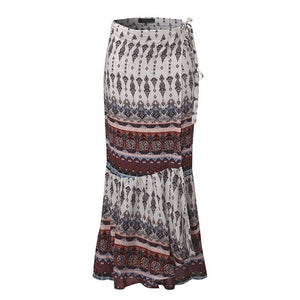 Women Boho Floral Front Wrap Party Clubwear Long Skirt Maxi Dress