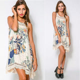 Vestidos Women Summer Tank Dress Floral Print O neck Sleeveless Lace Patchwork Casual Dresses Roupas Femininas Plus Size Dress