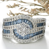 Luxury Antique Style Silver Imitation White Topaz & Blue Sapphire Engagement Wedding Solitaire Ring