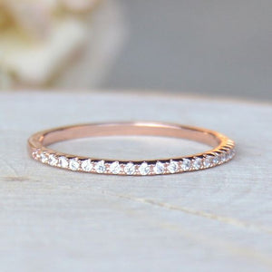 Lovely Rhinestone Ring 14K Rose Gold CZ Elegant Thin Ring Anniversary Engagement Wedding Valentines Day Gift Ring For Wome