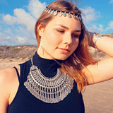 Gypsy Bohemian Beachy Coin Statement Bib Necklace Festival Turkish India Tribal-JS