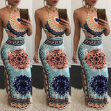 Women Fashion Long Dress Ethnic Print Side Split Halter Neck Sleeveless Drawstring Maxi Dress