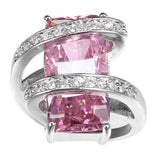 Charm Jewelry Women 925 Silver Imitation Pink Sapphire Gemstone Wedding Engagement Ring - The Rogue's Clothes