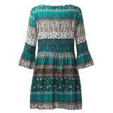 Women Floral Print Three Quarter Sleeve Boho Dress Ladies Evening Party Dress Best Sale(Size:S~5XL;Color:Green,Black,Navy )