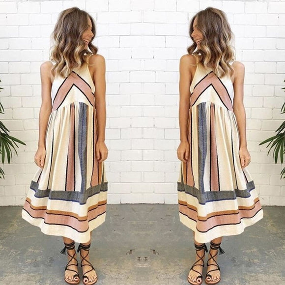 Beach Boho Sundress Women Printed Sleeveless Summer Casual Evening Party Dress - The Rogue's Clothes