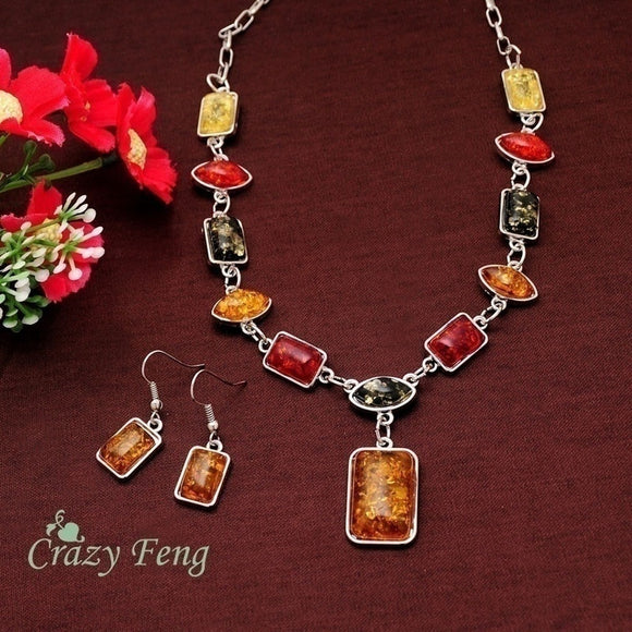 925 Sterling Silver Square Amber African Necklace Earrings Jewelry Set - The Rogue's Clothes