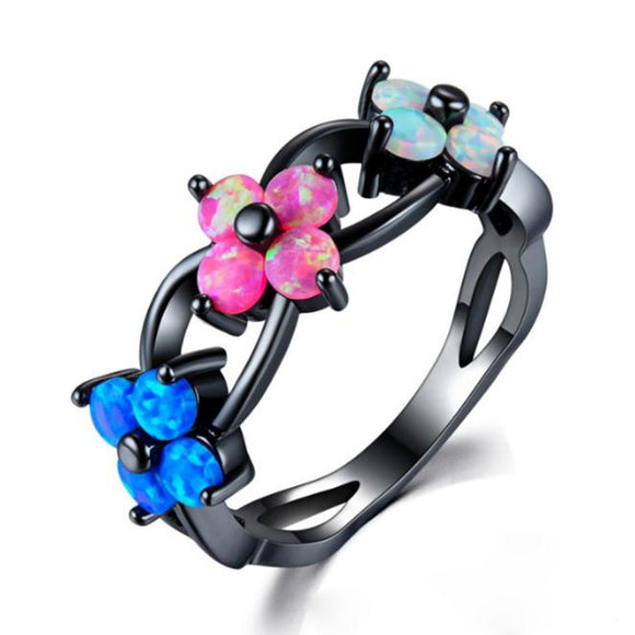 AWESOME Jewelry Black Gold  Fire Opal Flower Wedding Engagement Ring In Silver - The Rogue's Clothes