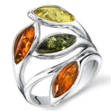 Amber Leaf Ring Silver Cherry Olive Honey Cognac Colors Sizes 5-12 - The Rogue's Clothes