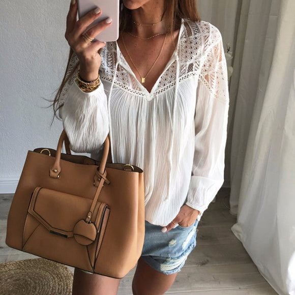 Women V Neck Lace Crochet Tops Pullover Casual Loose Shirt Blouse