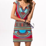 Women Sexy Bohemian Short Sleeve V-Neck Dress Bodycon Casual Dresses