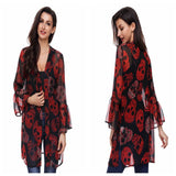 Fashion Women Cardigan Coat Skull Printed Flare Sleeve Chiffon Kimono Cardigan Coat Tops Blouse