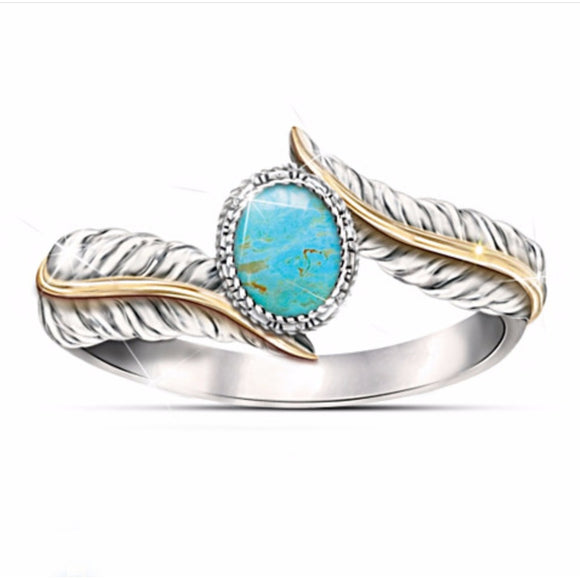 Magnificent Women's Jewelry Silver Turquoise Feather Ring 18K Gold Plated Proposal Gift Cocktail Party Rings Bridal Weddin