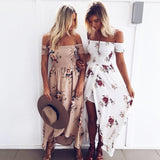 Summer Sexy Women Slash Neck Short Sleeve Off Shoulder Dress Floral Print Vest Holiday Beach Long Slit Dress